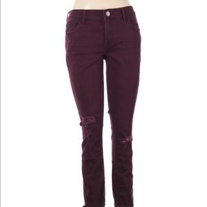 Express size 4 burgundy distressed skinny jeans